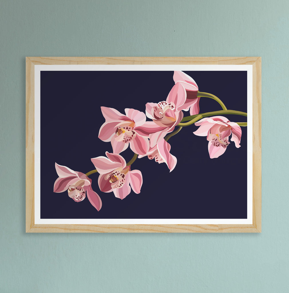 Orchid Fine Art Print on dark background