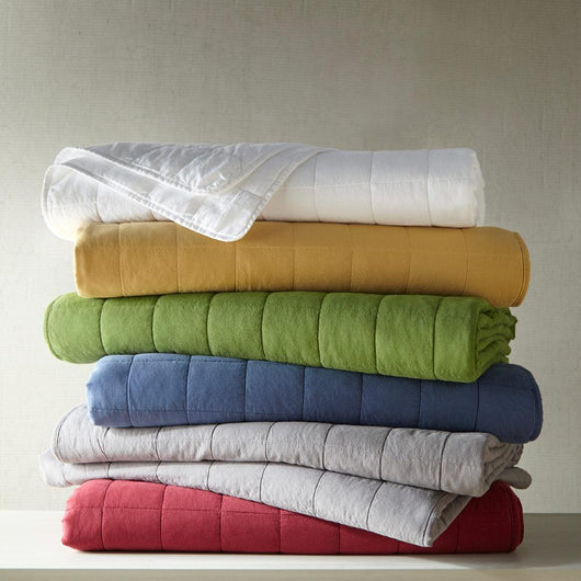 Stack of 4 Square Quilted Coverlets in Various Colors