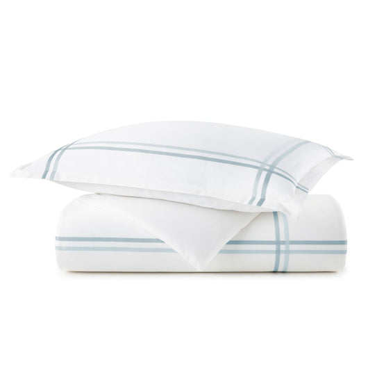 peacock alley duo duvet and sham stack in blue
