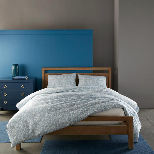 denim blue Fern duvet cover and sleeping shams