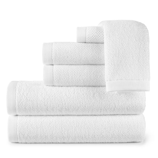 stack of white jubilee cotton bath towels