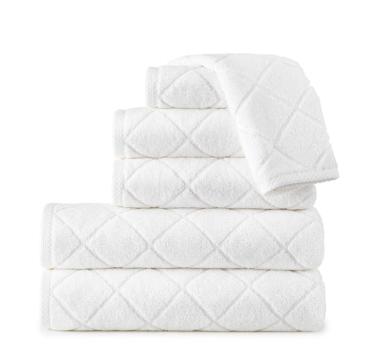 white stack of diamond sculpted pattern bath towels