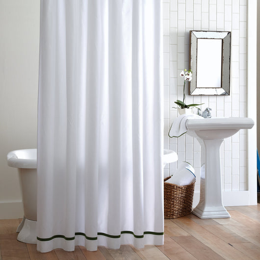 White pique luxury shower curtain with solid color stripe