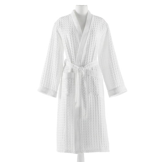 white cotton waffle weave bath robe on mannequin