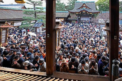 New year's overcrowded shrine in Japan