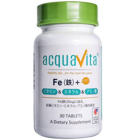 Acquavita Multi Vitamins, Minerals, Amino Acids plus Iron (30 tablets) acquavita Fe(鉄)+ビタミン・ミネラル・アミノ酸 30粒 Life Tokyo Direct