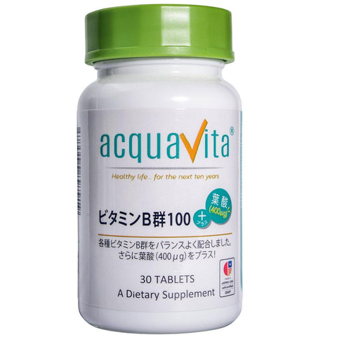 Acquavita Vitamin B & Folic Acid (30 tablets) acquavita(アクアヴィータ) ビタミンB群100+葉酸(400μg) 30粒 Life Tokyo Direct