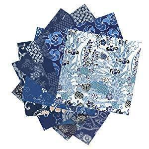 Ai Zome Blue Washi Chiyogami 15cm 20 papers 菅公工業 折り紙 藍染千代紙 大 ミ082 Toy Tokyo Direct