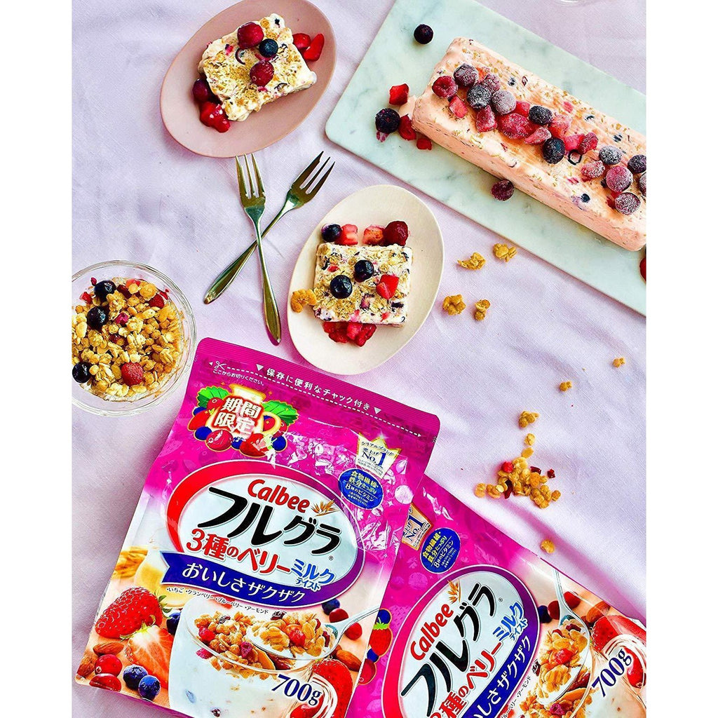 Calbee Frugra 3 Mixed Berries (6pcs) Limited Edition カルビー フルグラ 3種のベリーミルクテイスト 6袋 Food Tokyo Direct