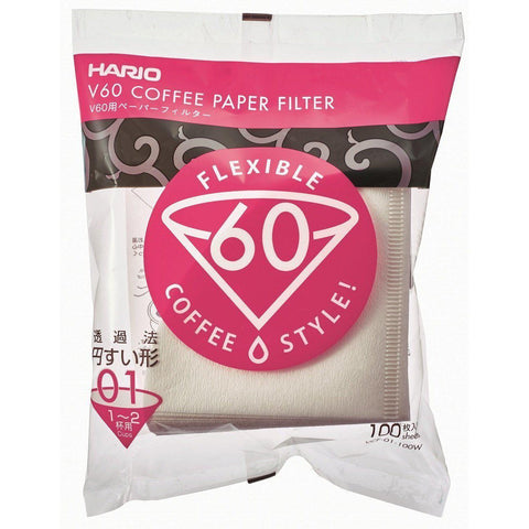 Image of HARIO Paper filter V60 (1-2 cups) 100 filters x 10pcs ハリオ  V60 用 ペーパーフィルター 01W 100枚 x 10パック ホワイト (1-2杯用)VCF-01-100W Kitchen Tokyo Direct