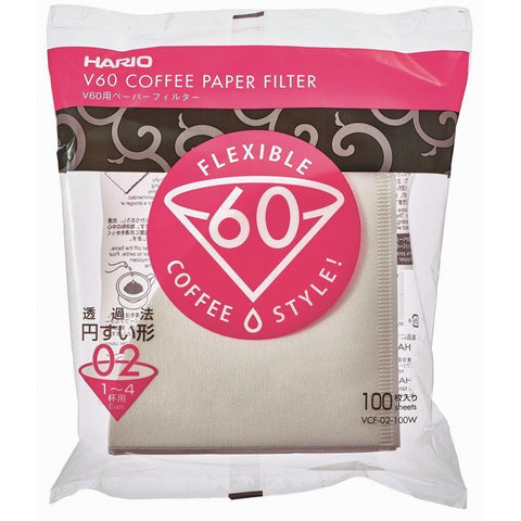 HARIO Paper filter V60 (1-4 cups) 100 filters x 10pcs ハリオ  V60用 ペーパーフィルター 02W 1~4杯用 100枚入 x 10パック ホワイト VCF-02-100W Kitchen Tokyo Direct