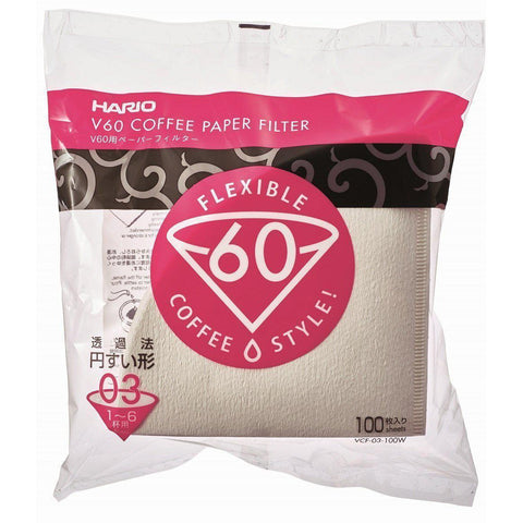 HARIO Paper filter V60 (1-6 cups) 100 filters x 10pcs ハリオ V60用 ペーパーフィルター コーヒードリップ 1~6杯用 100枚入り ホワイト VCF-03-100W Kitchen Tokyo Direct