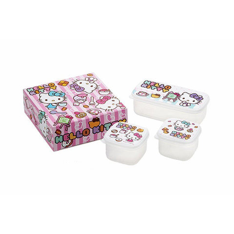 Hello Kitty Food Container 3pcs HELLO KITTY(ハロ-キティ)カフェラブ・シール容器3pcセット・A KT-103 Kitchen Tokyo Direct
