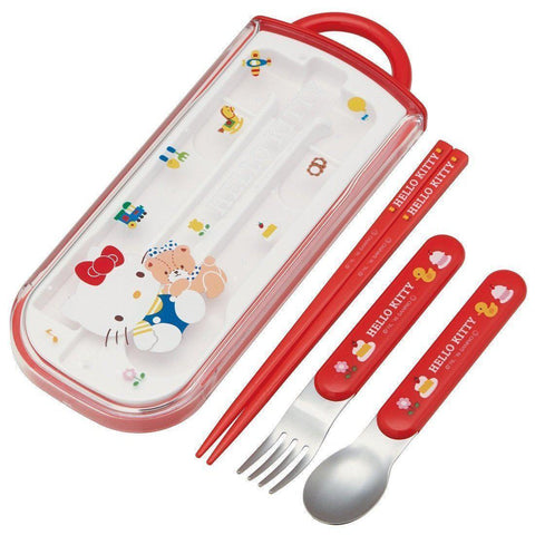 Hello Kitty Trio Set(Spoon, Fork, Chopsticks) スプーン フォーク セット ハローキティ 日本製 TCS1AM Kitchen Tokyo Direct