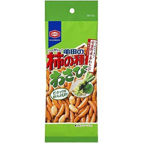 Image of Kameda Kaki-No-Tane Rice Cracker & Peanuts (Wasabi) 10pcs 亀田の柿の種わさび 10袋 Snack Tokyo Direct