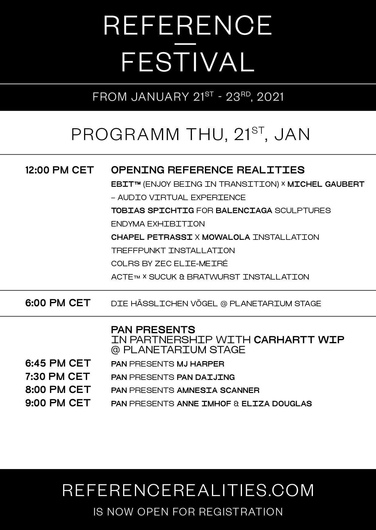 Reference Festival Time Table