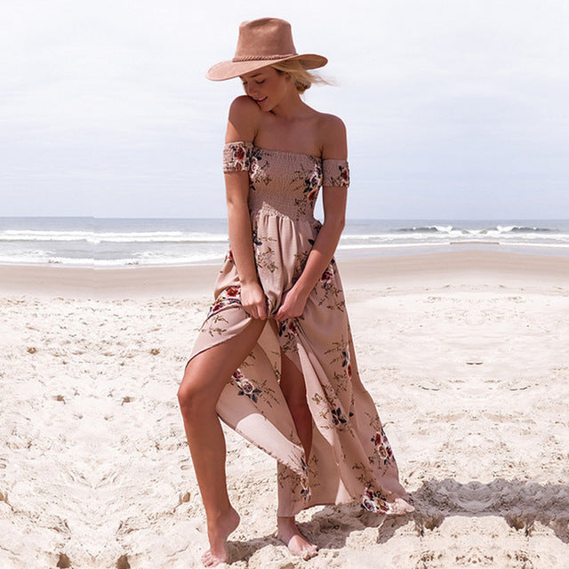 Off-The-Shoulder Bohemian Beach Dress