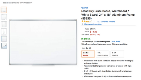 mead dry erase whiteboard