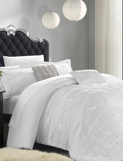 Chic Home 5 Piece Florentina Floral Pleated Comforter Set