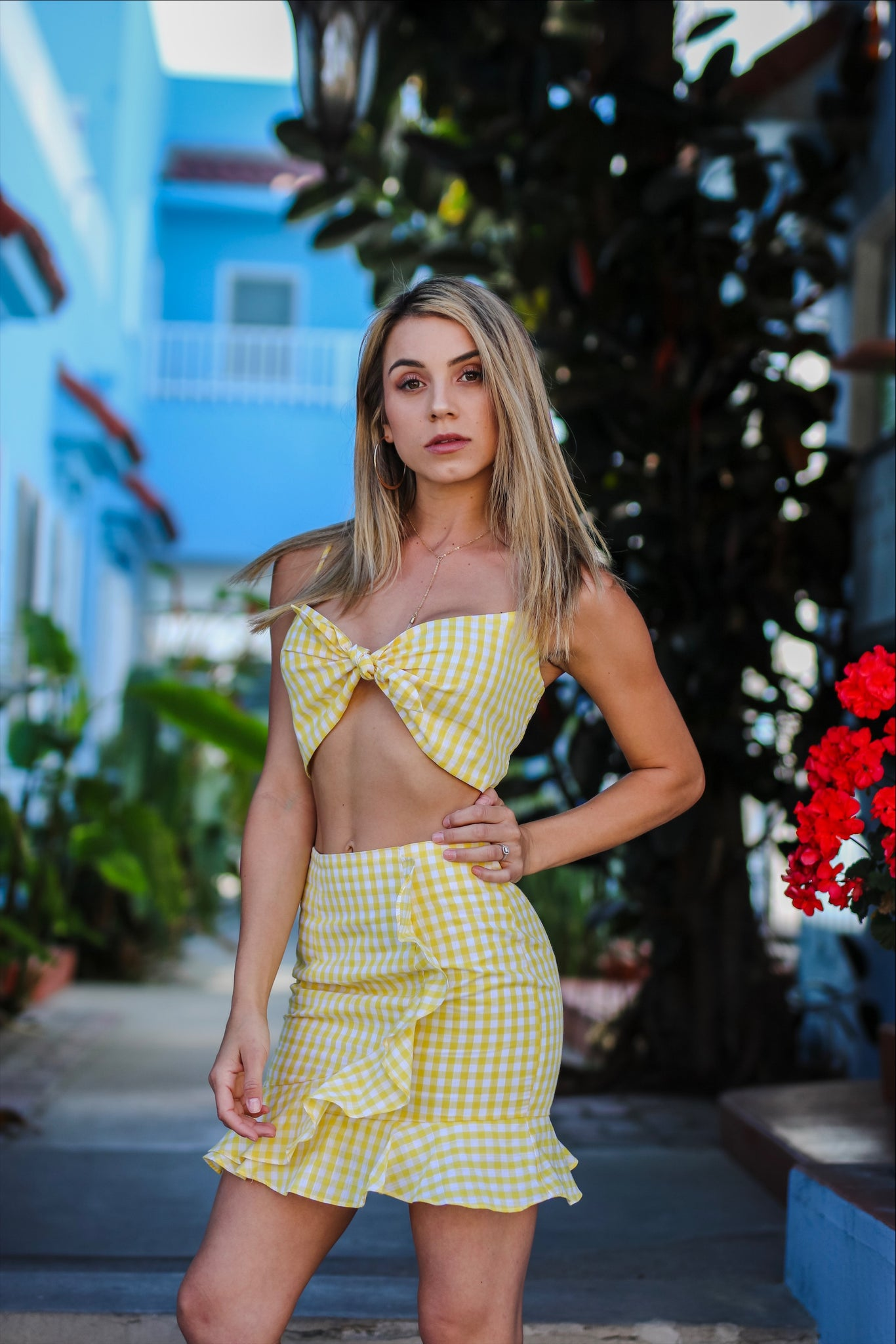Yellow Gingham Two Piece Set
