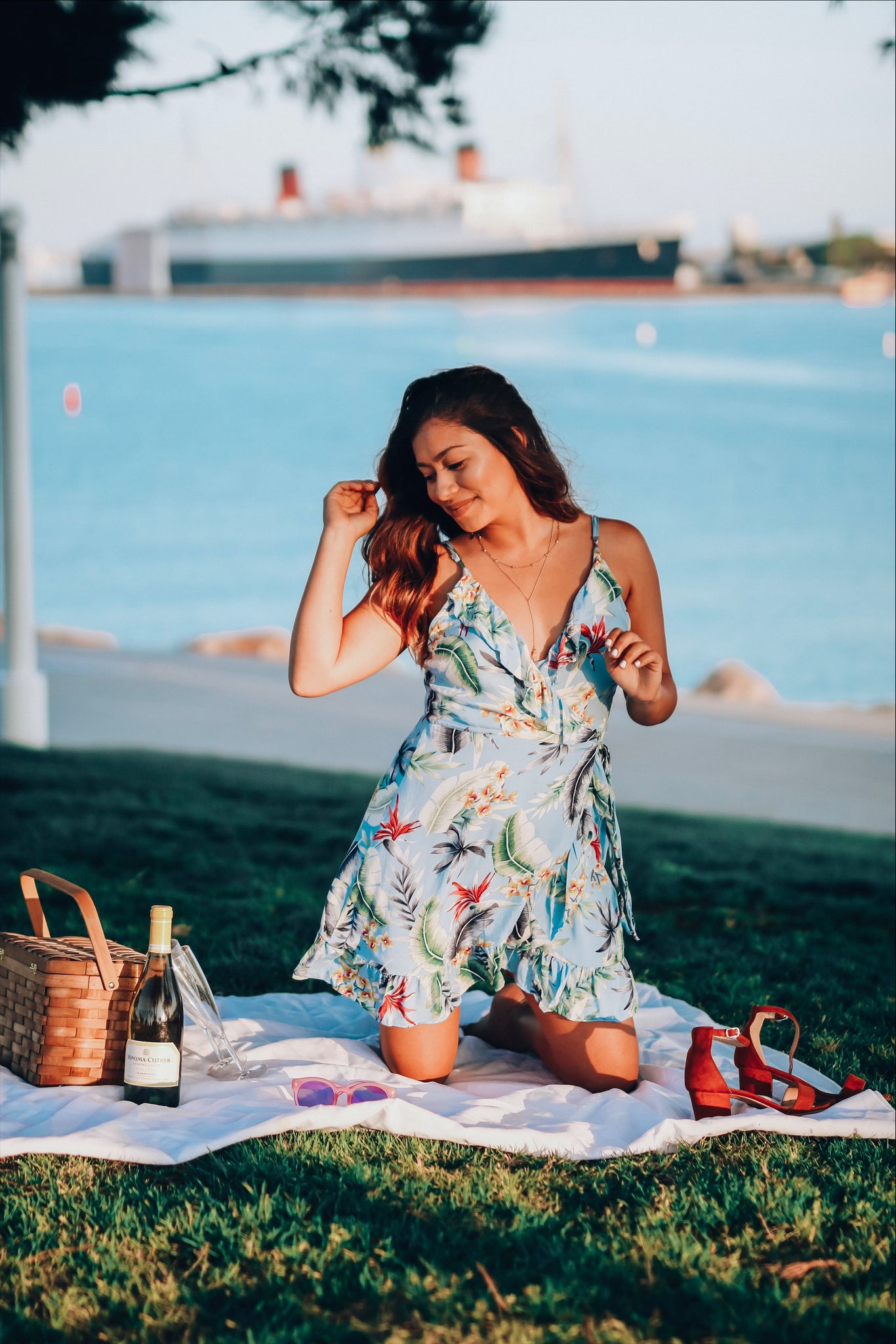 Tropical blue floral dress