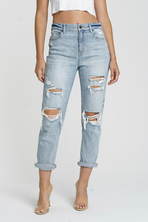 My Best Life High-rise Distressed Boyfriend Jeans
