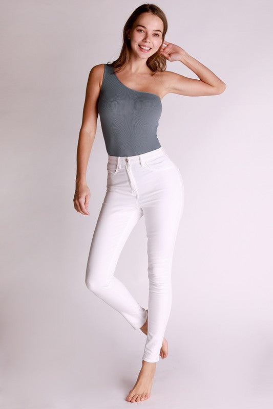 Stoney One Shoulder Bluestone Bodysuit