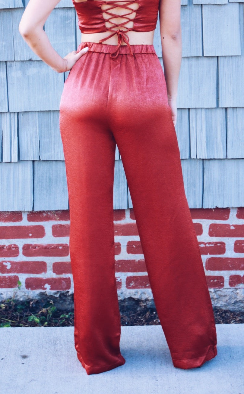 Amber Bottoms - Carolmine, Luxxel Rust Two Piece Jumpsuit Set