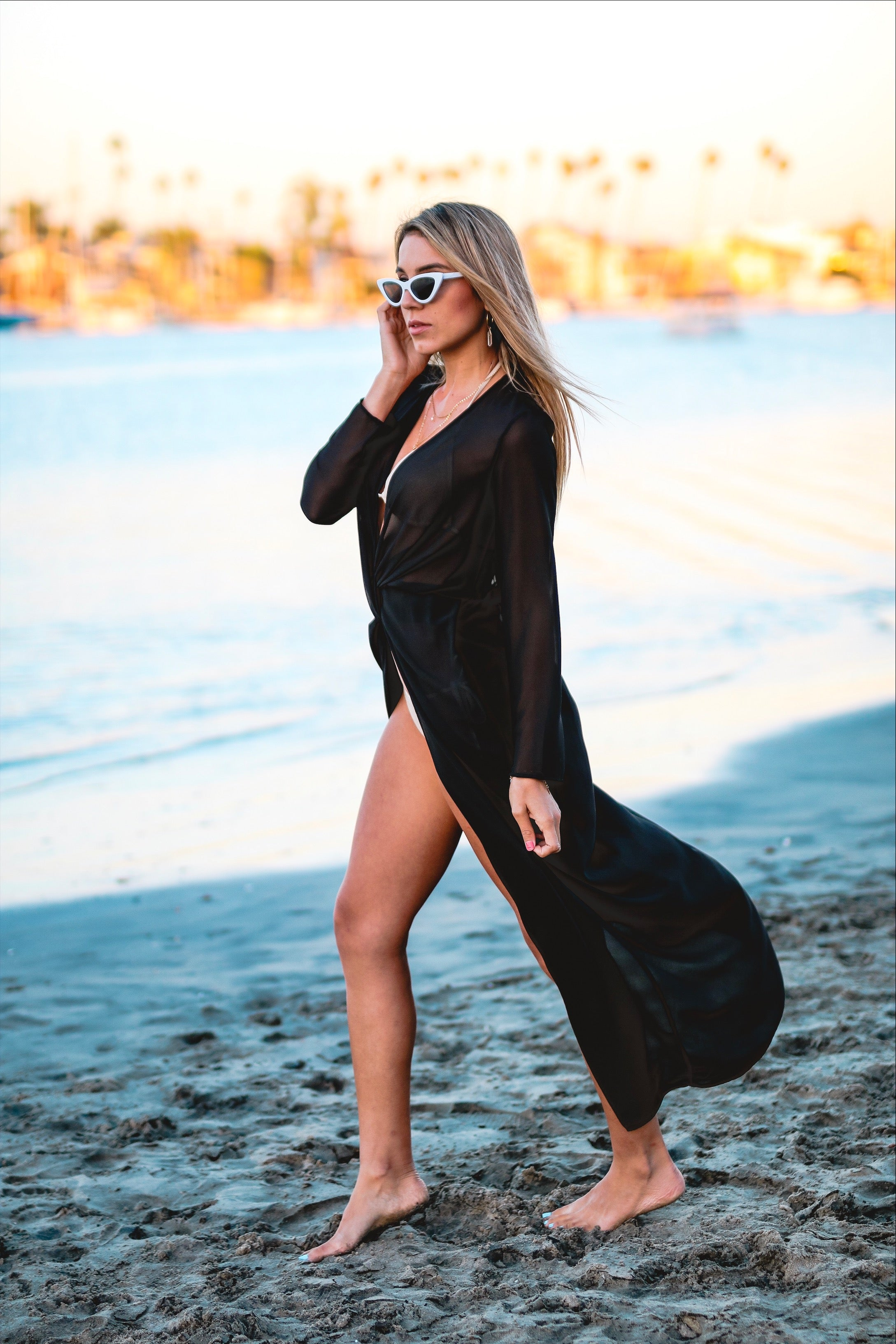 Black long sleeve sheer kimono - Carolmine