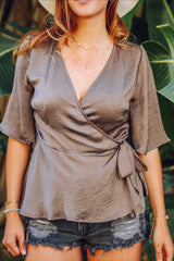 Date Night Olive Satin Wrap Top