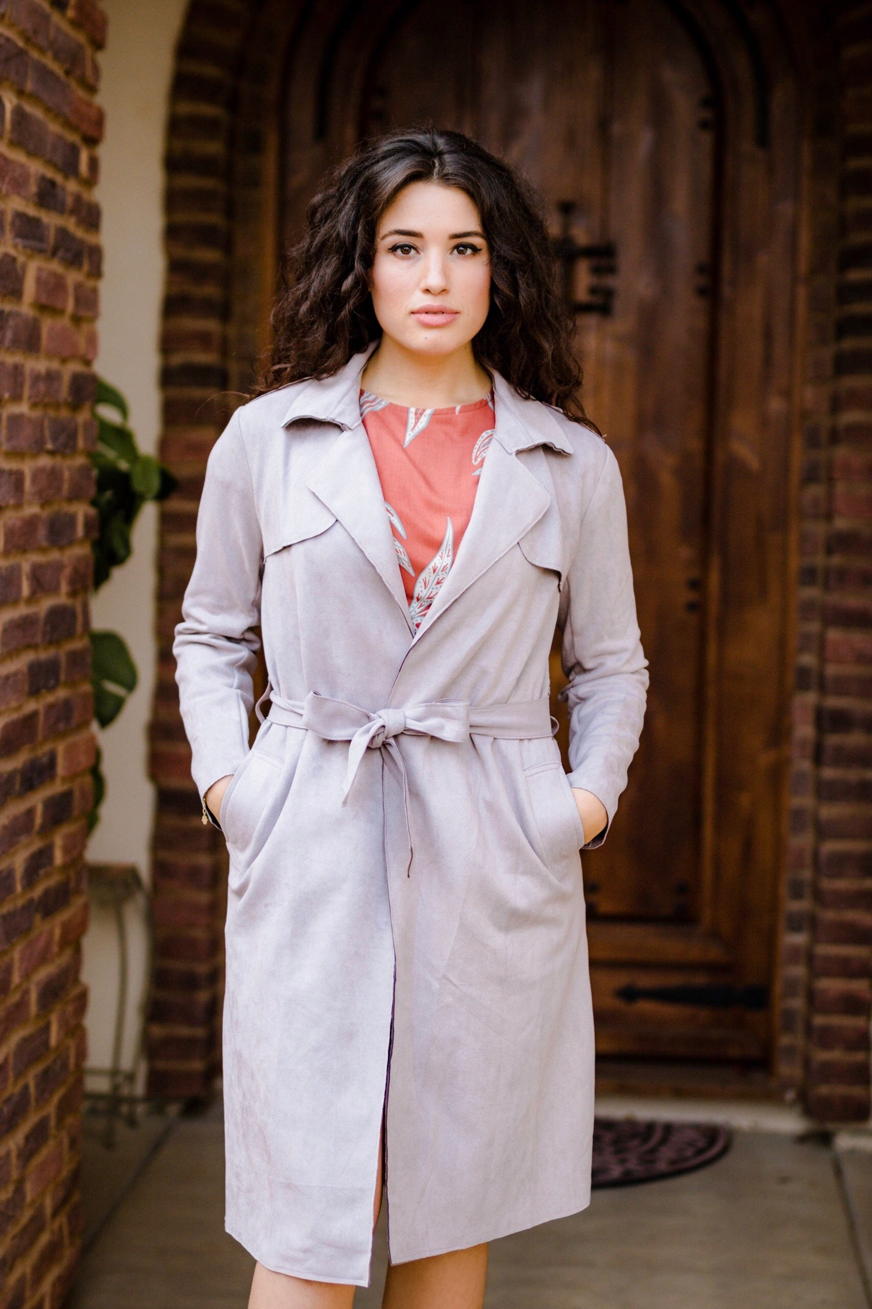 Say No More Grey Suede Trench Coat - Carolmine