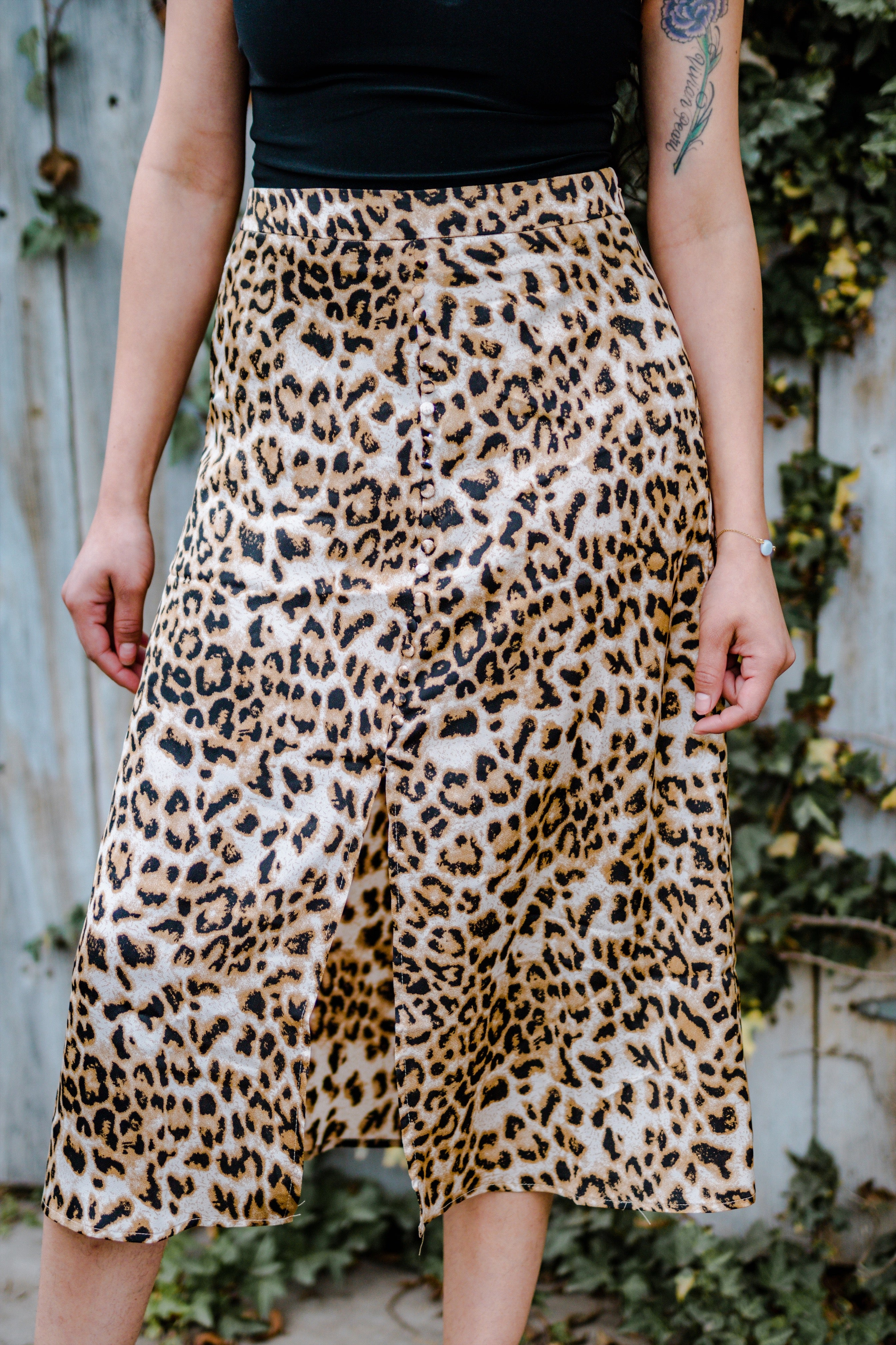 Leopard Print Skirt With Slit