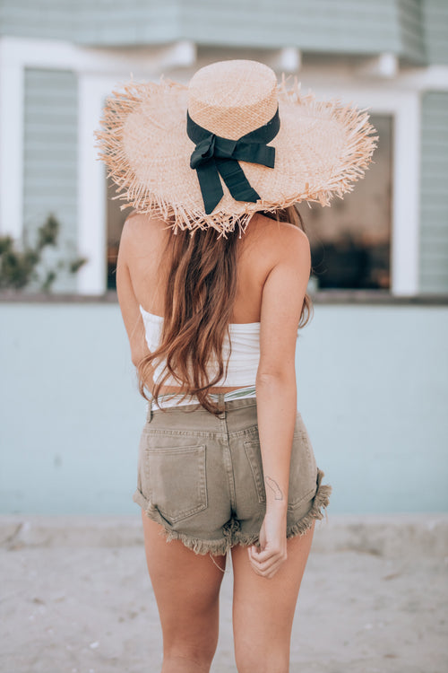 Fringe fray straw hat