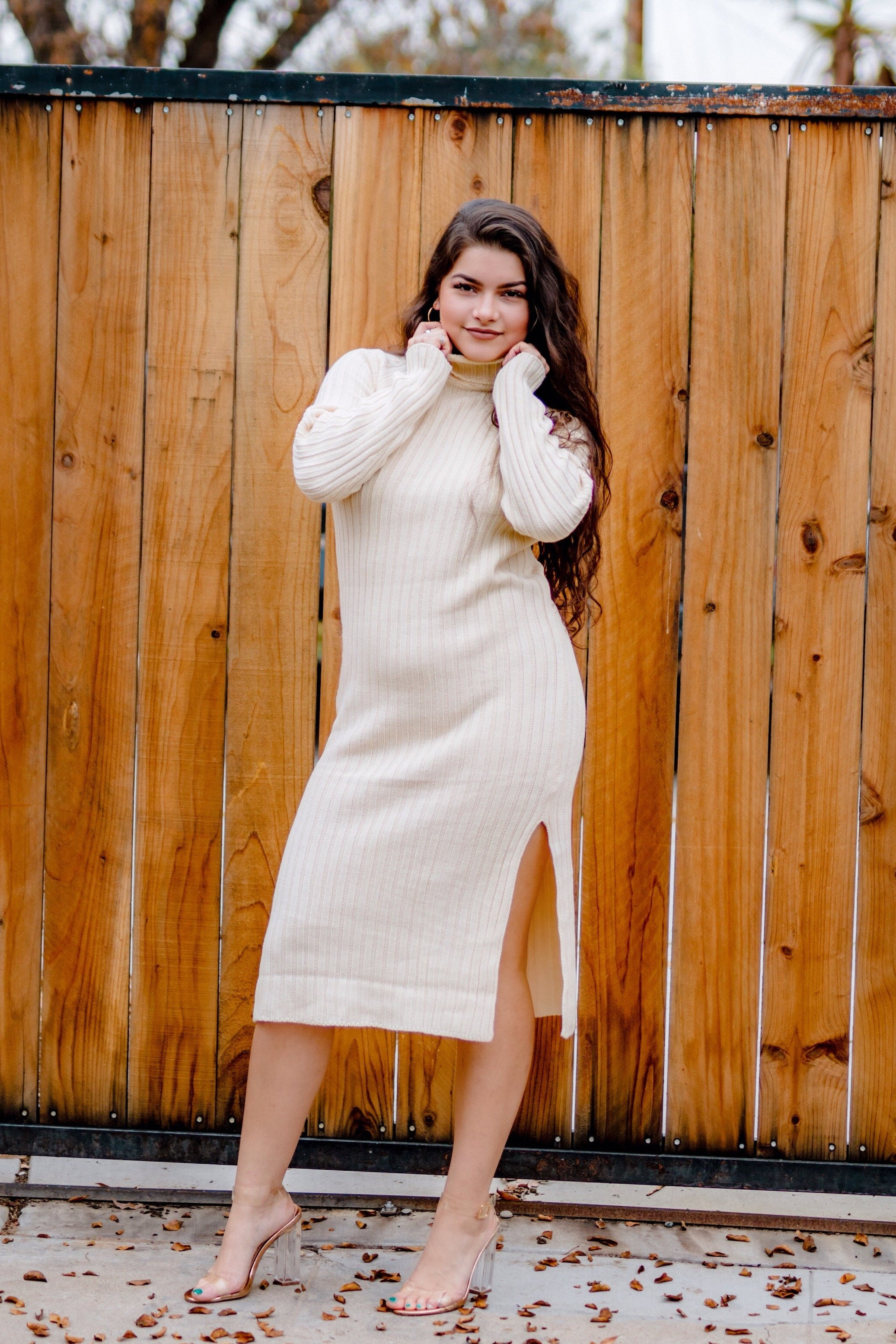 Hey Suga Suga Ivory Ribbed Sweater Dress