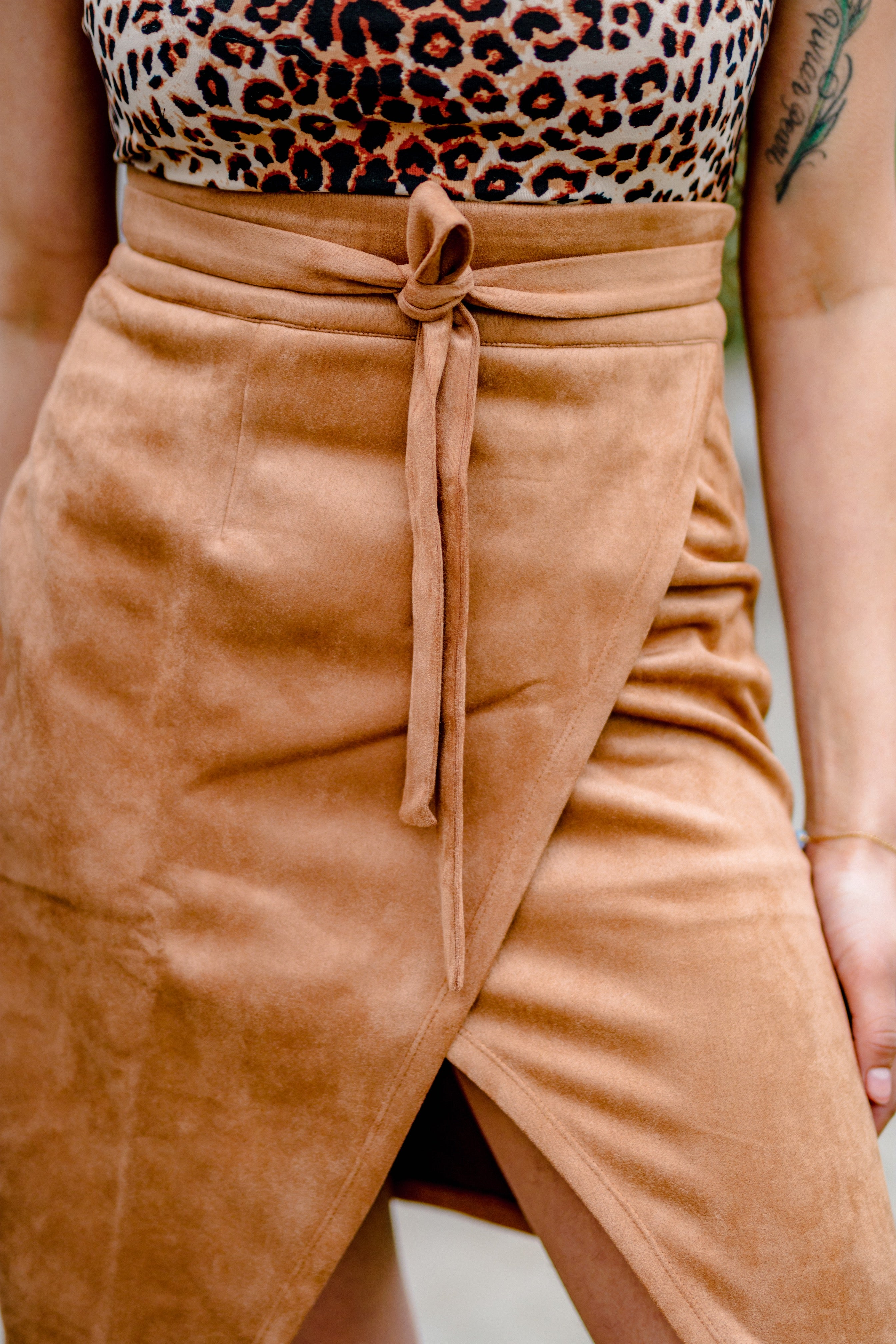 Her Hips Don't Lie Taupe Suede Skirt