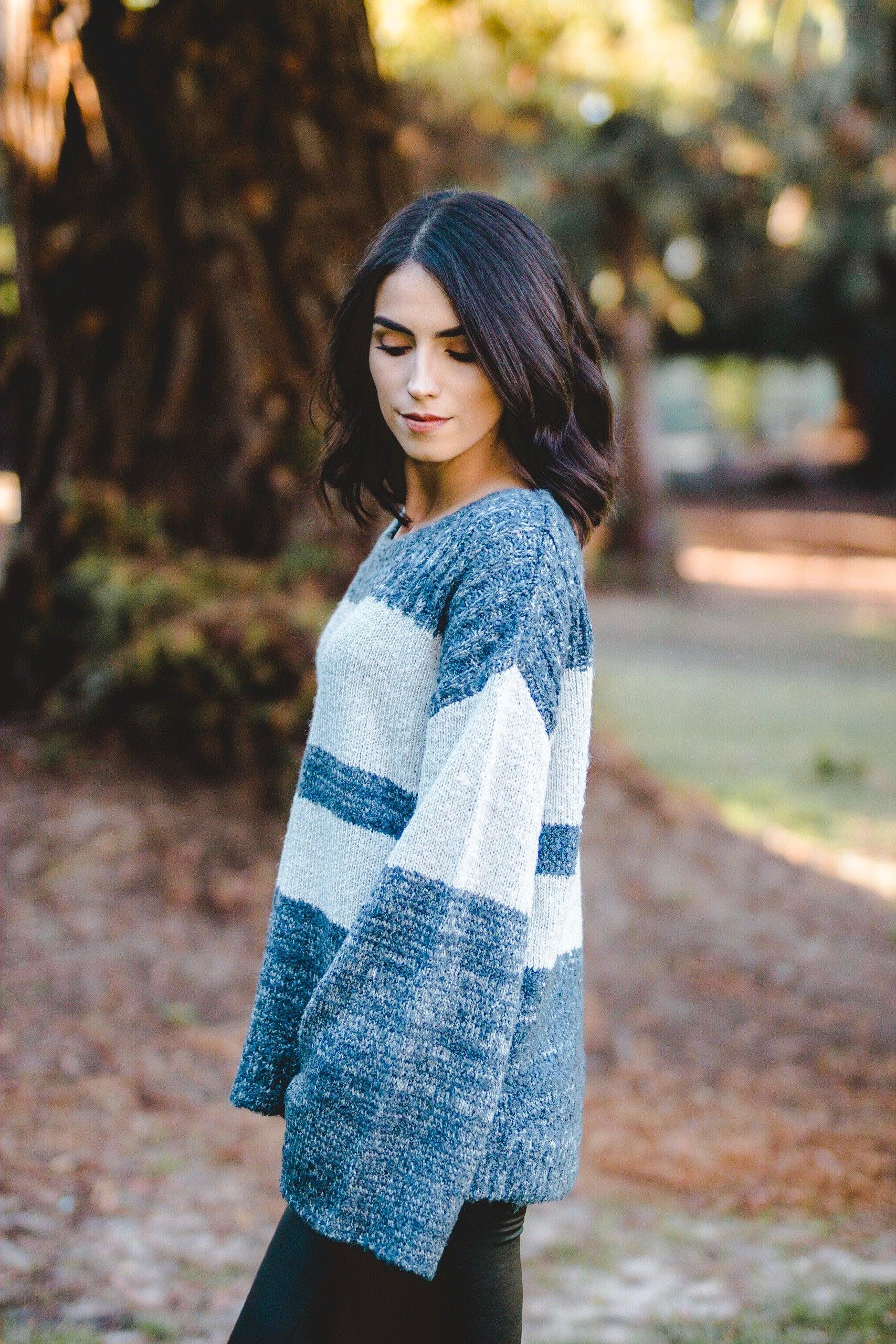 Striped blue grey sweater | Carolmine