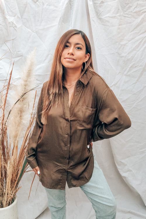 Ice Baby Olive Button Front Shirt