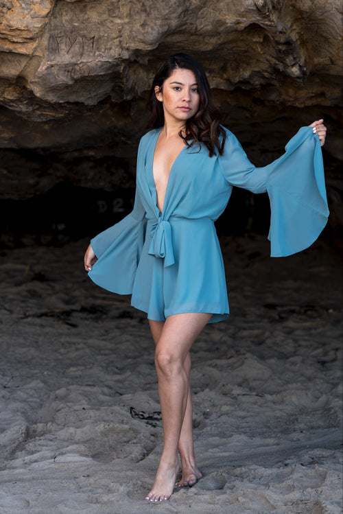 Carolmine, teal Bell sleeves deep v romper
