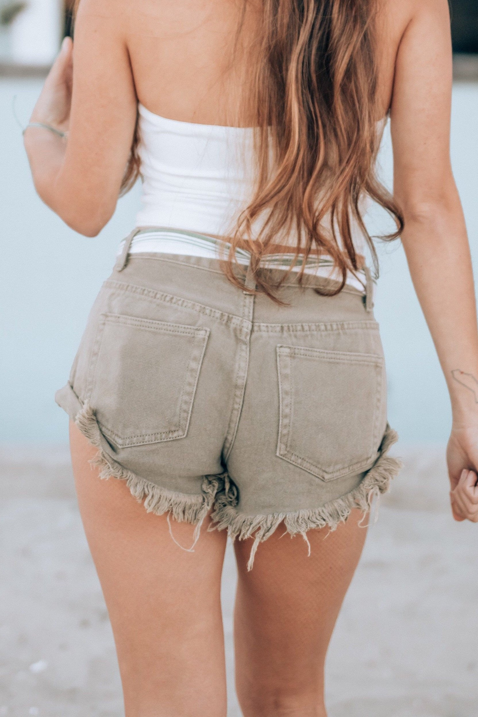 Lost At Sea Olive Jean Shorts