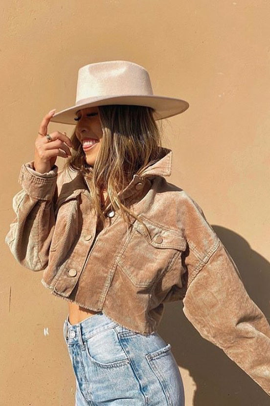 Wanted Trouble Khaki Cropped Corduroy Jacket