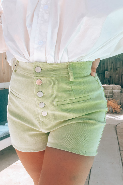 Honeydew Melon Button Down Shorts