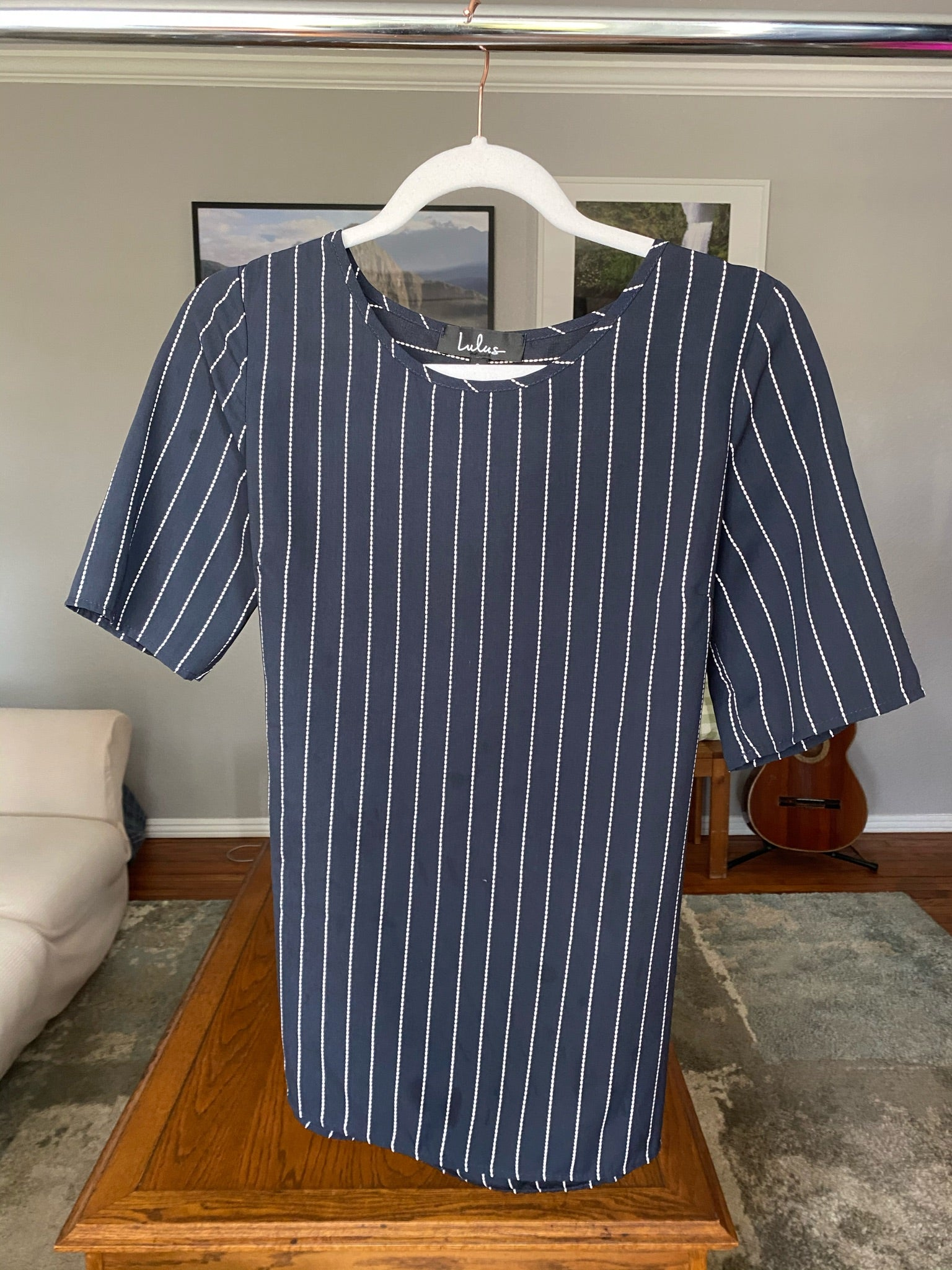 S Navy Striped Blouse