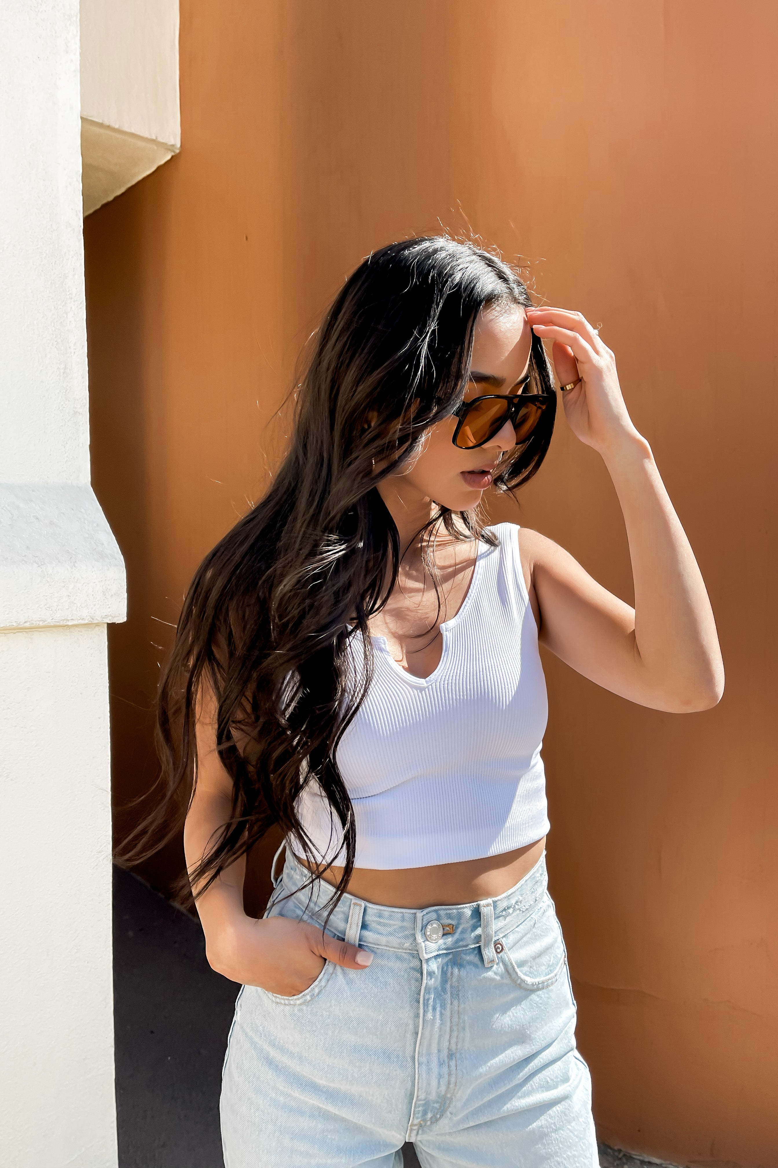 Easy Breezy White Ribbed Crop Top