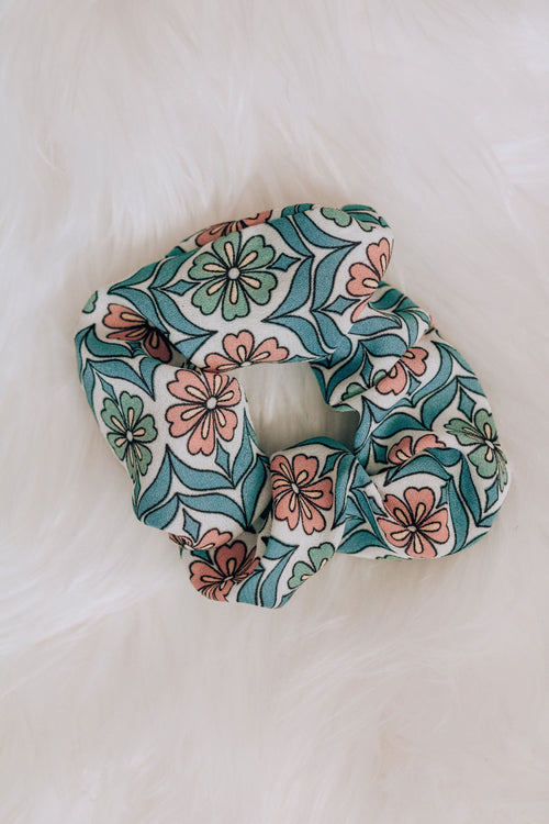 Floral Blues Scrunchie