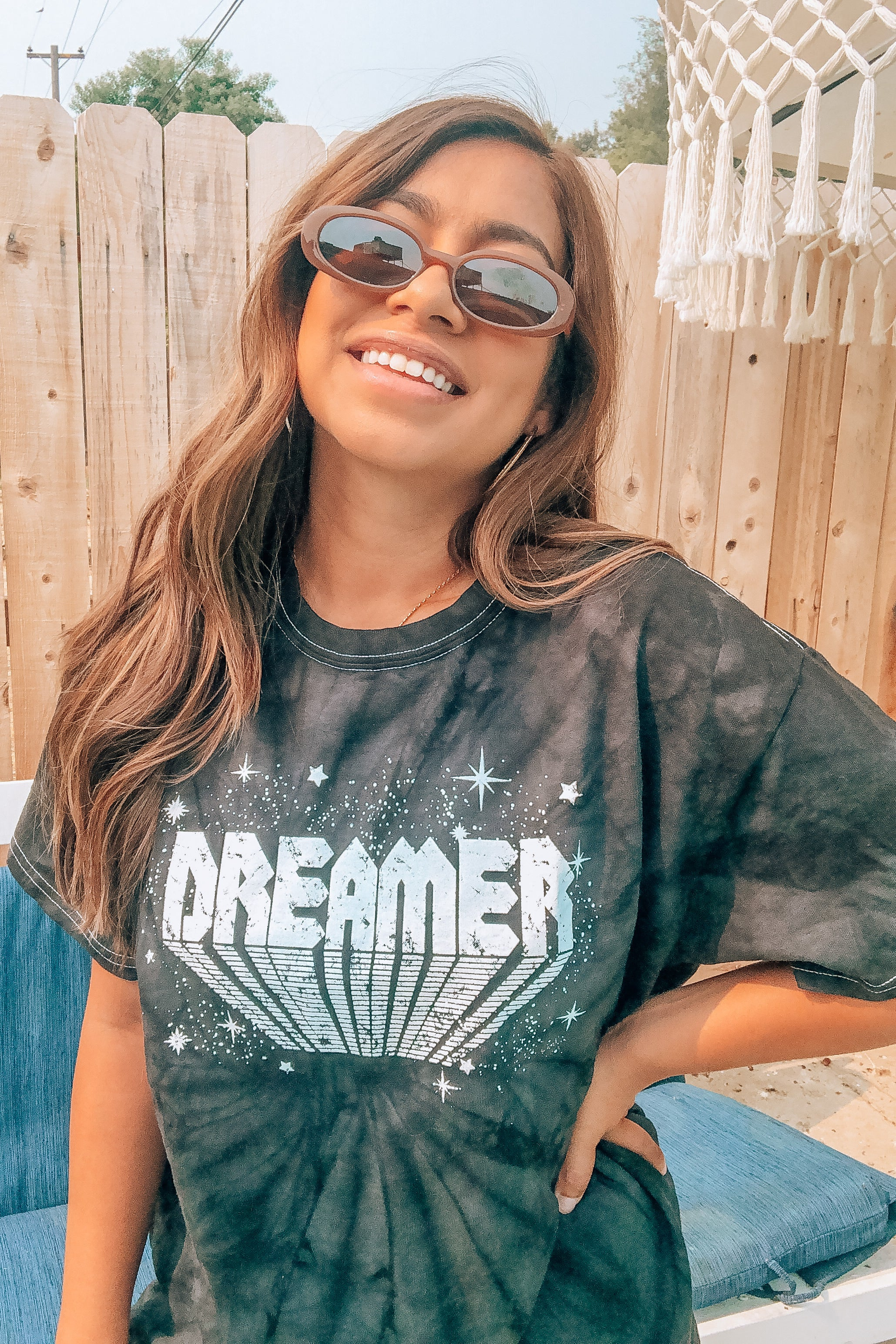 Black Tie Dye Over-sized Dreamer Tee