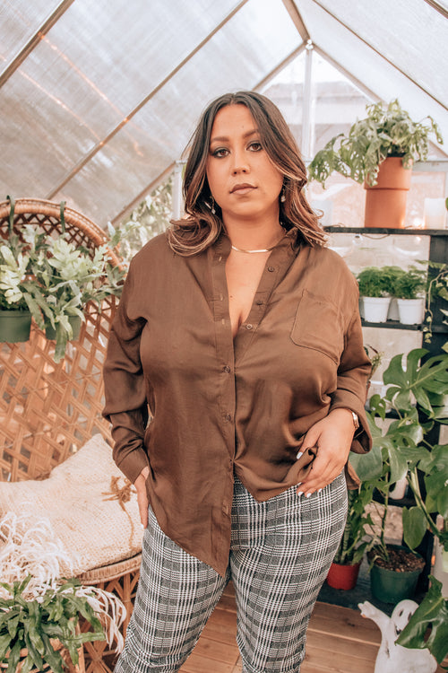 Ice Baby Olive Button Front Shirt - Curvy