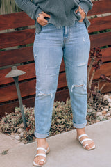 Eunina Extra High Waisted Distressed Jeans Mom Jeans