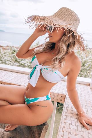 Caribbean Passion Green Leaf Print High Waisted Bikini Bottoms