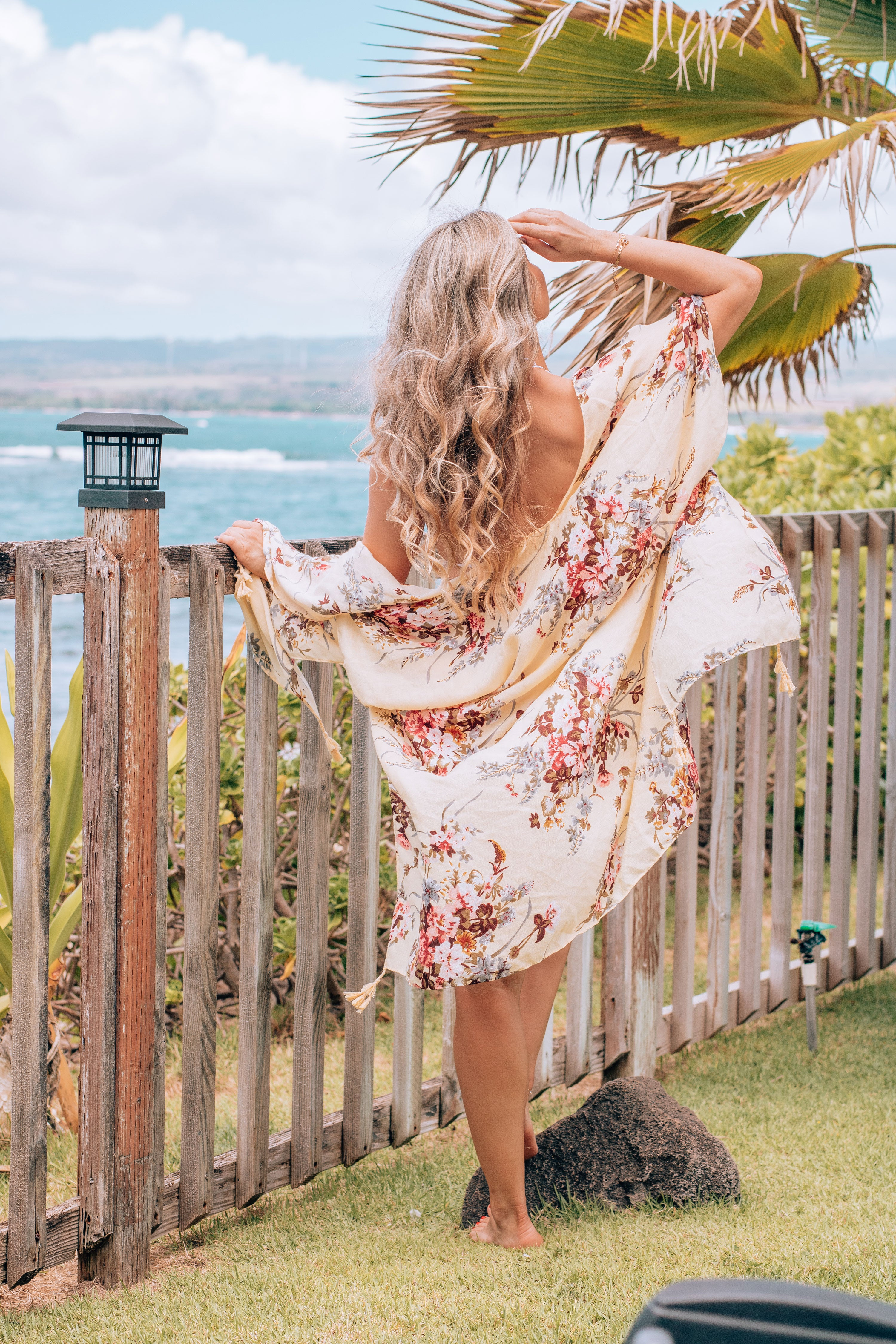 Here For The Views Kimono - Yellow Floral Print