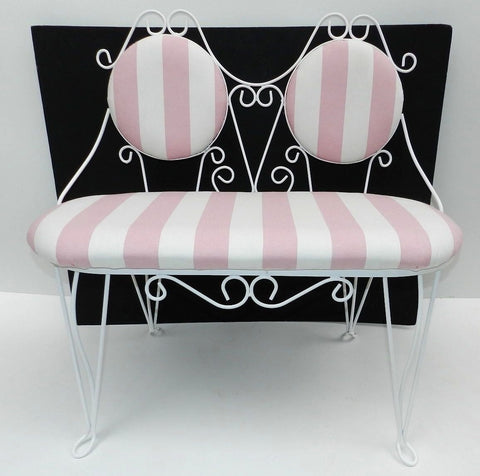Vintage Wrought Iron Double Bench Seat Ice Cream Parlor Chair